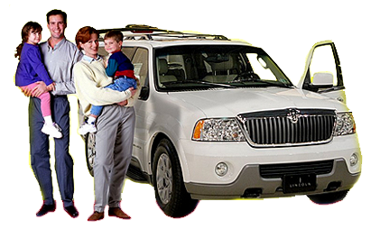 Family with two children standing outside of repaired white SUV